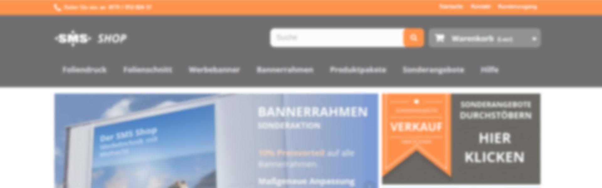 Werbebanner, Bannerrahmen und Druckprodukte im SMS Shop, Ihrer Online Druckerei