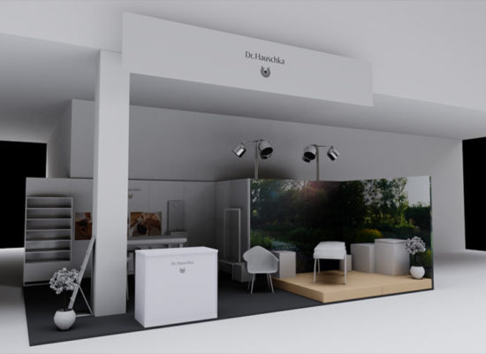 ·d Rendering einer Standkonzeptionierung und Designs mit eingeschalteter Saalbeleuchtung