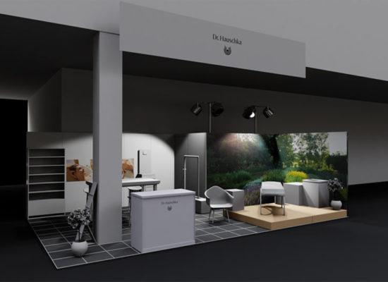 ·d Rendering einer Standkonzeptionierung und Design mit eingeschalteter Saalbeleuchtung mit Standbeleuchtung