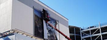 Vorschau: Montage und Befestigung von Fassadenwerbung und groß dimensionierter Werbesysteme an Gebäuden