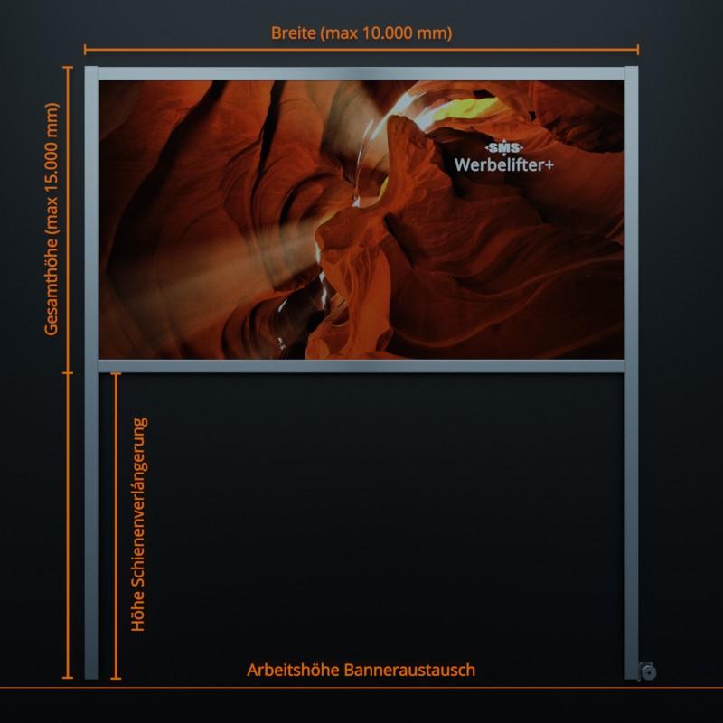 Werbelifter+: Die Lösung für großflächige Fassadenwerbung. Version mit Profilschienen