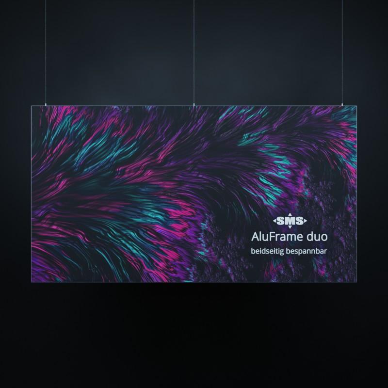 AulFrame duo: Beidseitig bespannbarer Textilrahmen, hier gezeigt mit Vorrichtung für die Abhängung