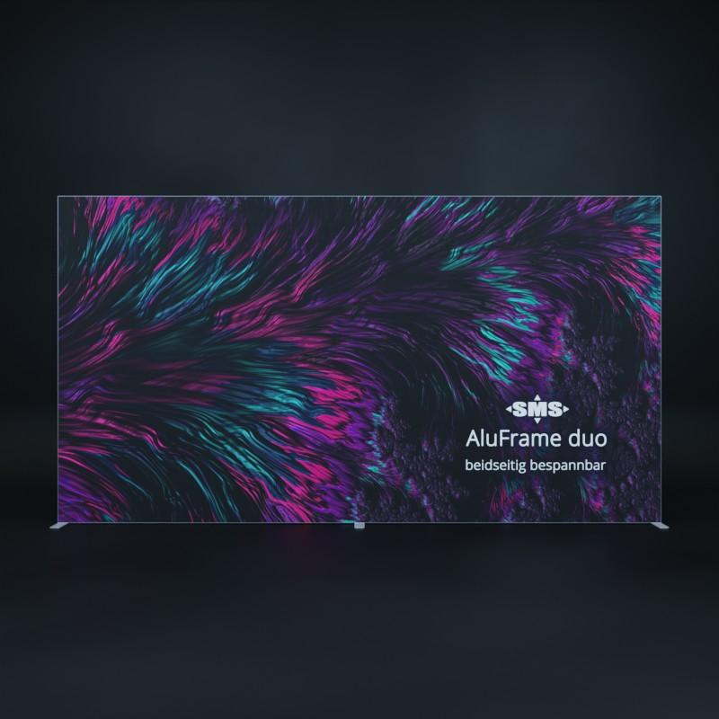 AulFrame duo: Beidseitig bespannbarer Textilrahmen, hier gezeigt als Aufsteller, Kundenstopper bzw. Trennwand