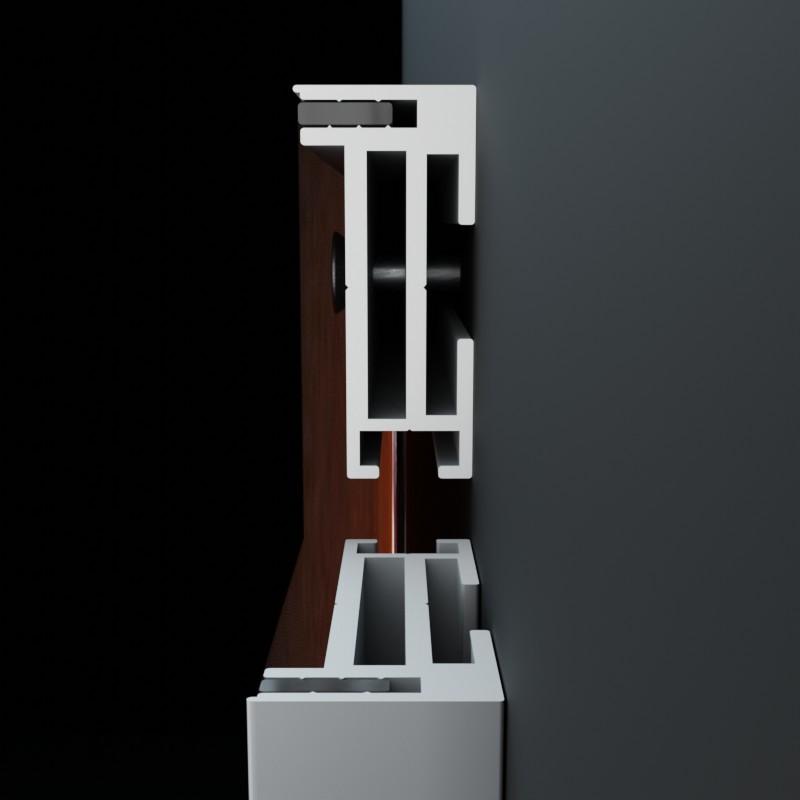 AluFrame solid: Querschnitt durch die Aluminium Profilschiene für Steckkeder