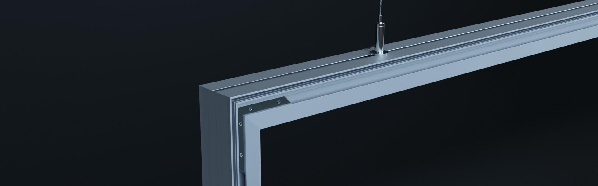 AluFrame duo: Aluminium Profilschienen mit Eckverbindern und Drahtseilhaltern und 1,5 mm Stahlseil