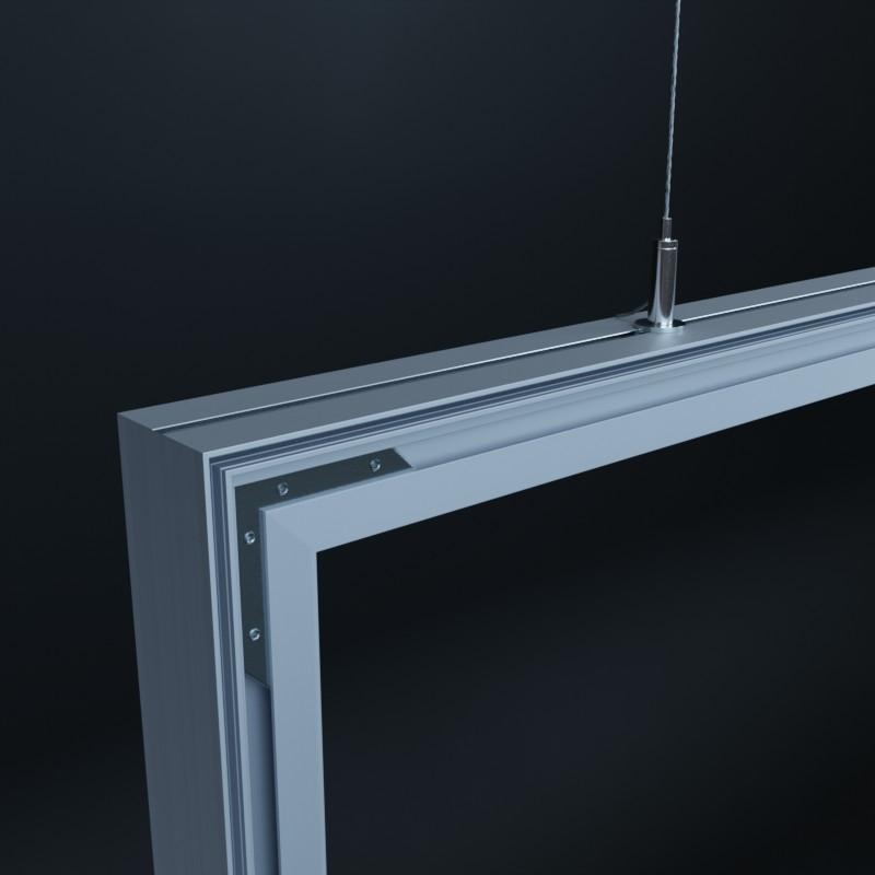 Aluminium Profilschienen für die Aufnahme von zwei Textildrucken - einer pro Seite