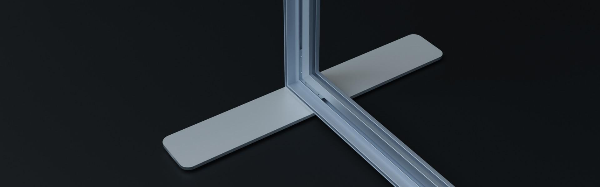 AluFrame duo: Aluminium Profilschienen mit Eckverbindern und eleganten Standfüßen