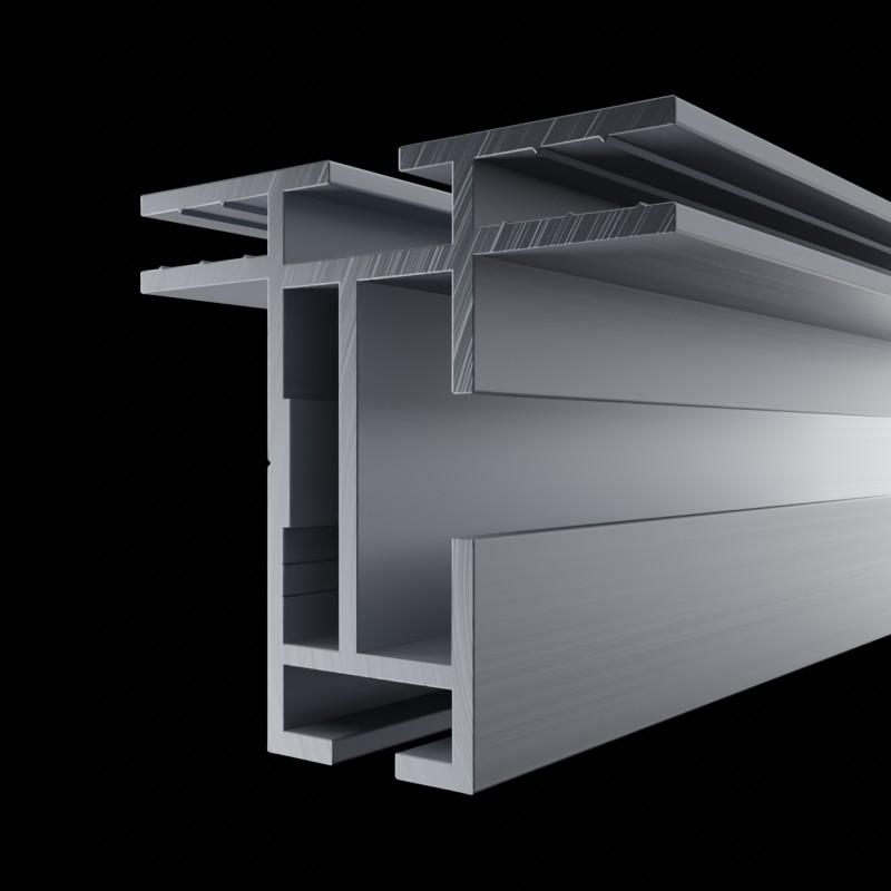 Solide Aluminium Profilschiene des AluFrame duo, mit Nut