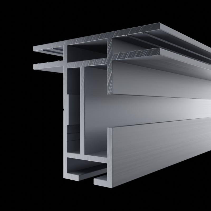 Solide Aluminium Profilschiene des AluFrame duo, ohne Nut