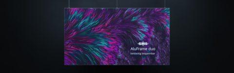 AluFrame duo: Beidseitig bespannbarer Spannrahmen aus Alumnium für Darstellung großformatiger Textildrucke