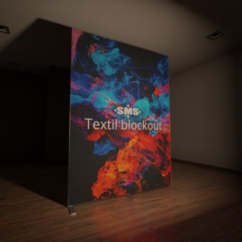 Textil blockout, hier der Textildruck front-beleuchtet