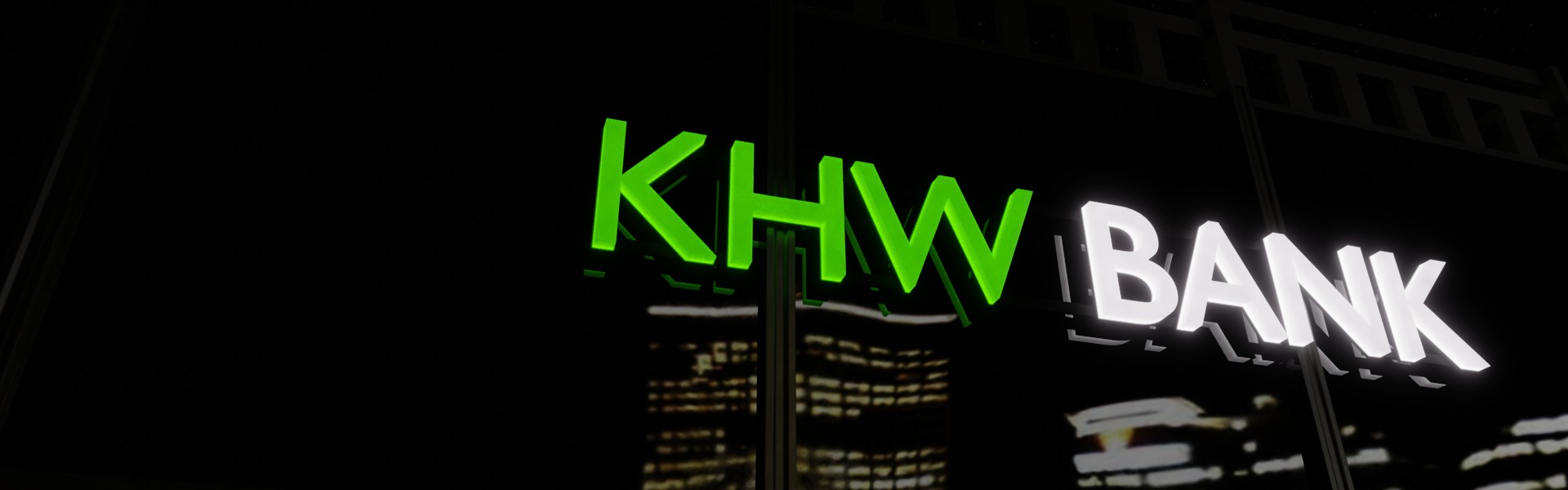 Lichtwerbung: Leuchtbuchstaben und 3D Logos für Ihre Leuchtreklame (Beispiel Bank Nacht)