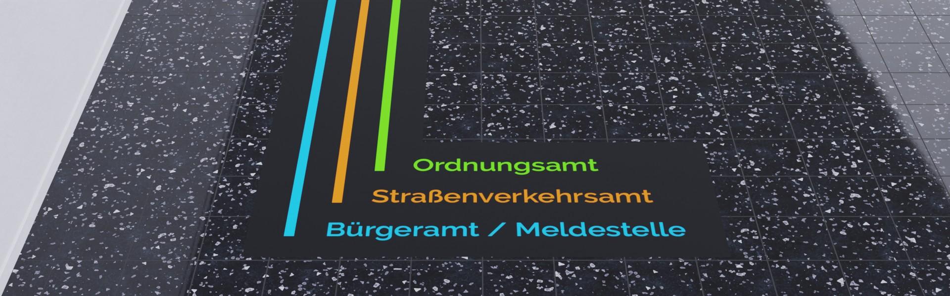 Beklebung und Beschriftung von Böden / Fußböden mit Markierungen als Wegeleitsysteme