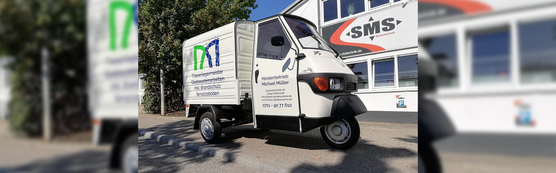 Fahrzeugbeschriftung Filderstadt für den Fliesenleger Meisterbetrieb Müller