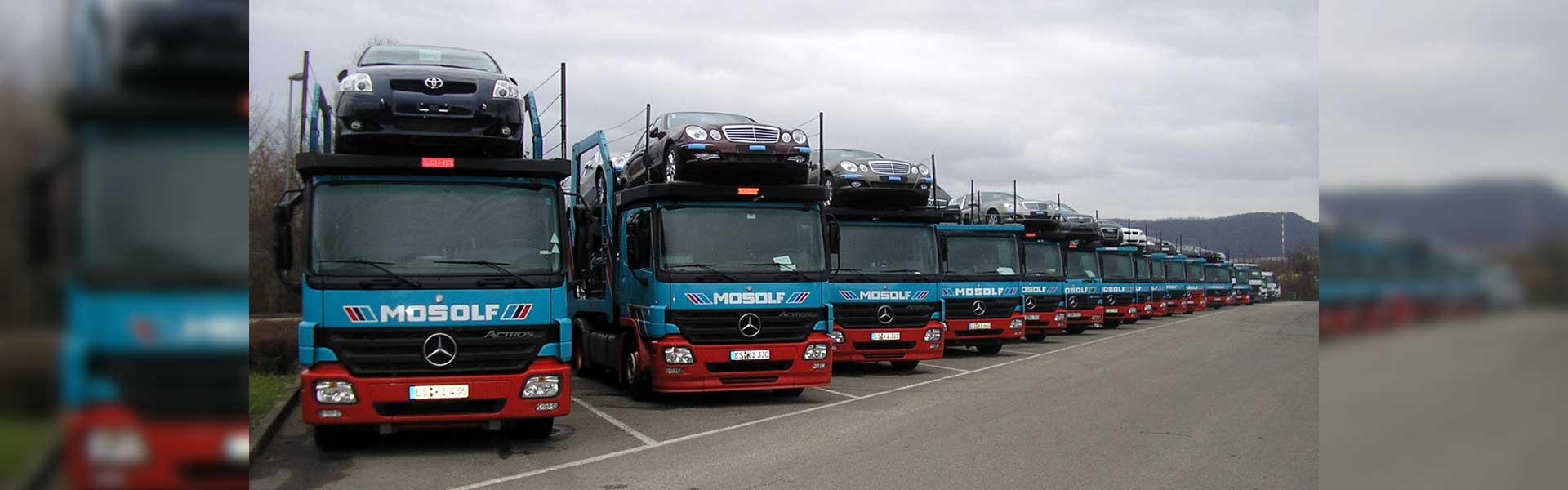 Beschriftung einer LKW Flotte mit Logos und Schriftzügen