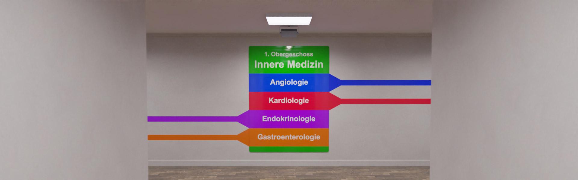 Beispiel eines Wegeleitsystems wie es in Krankenhäusern verwendet werden kann.