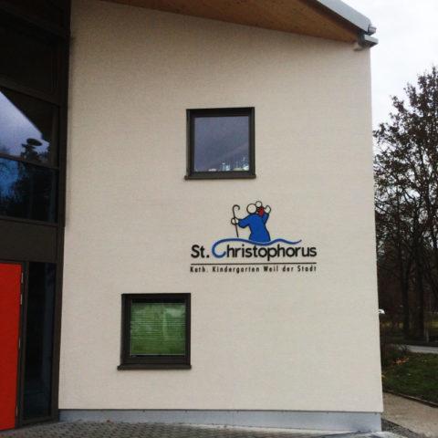 Außenwerbung mit 3D Logo und 3D Schriftzug für den Sankt Christopherus Kindergarten, Weil der Stadt