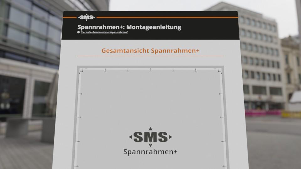 Montageanleitung Spannrahmen+, Werbeanlage für Fassadenwerbung (Social Media)