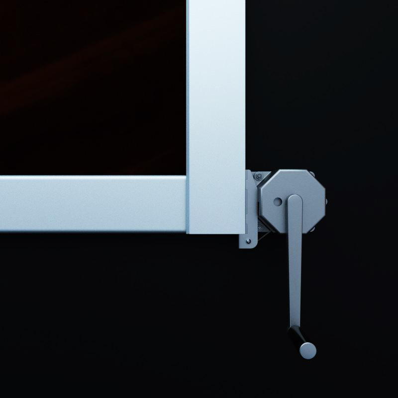 Hubsystem für das bequeme Einziehen des Werbebanners in den Werbelifter. Bild mit Bedienteil.